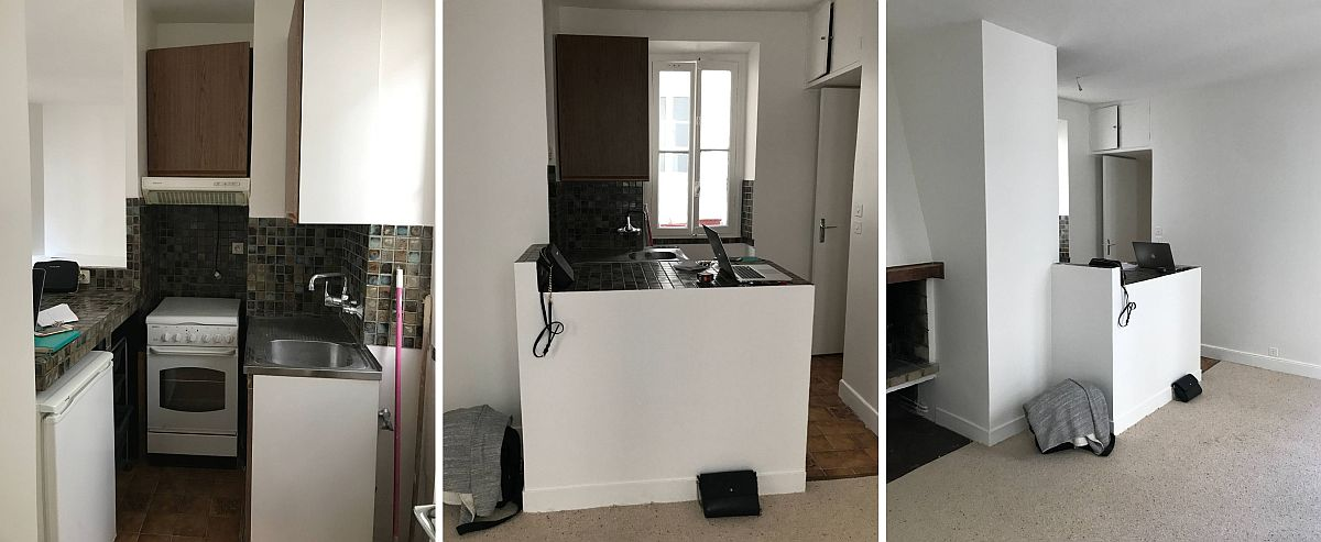 Înainte de renovare locul bucătăriei era fix la intrarea în cameră, ceea ce obtura accesul și nici nu permitea o organizare bună a micului spațiu destinat gătitului.