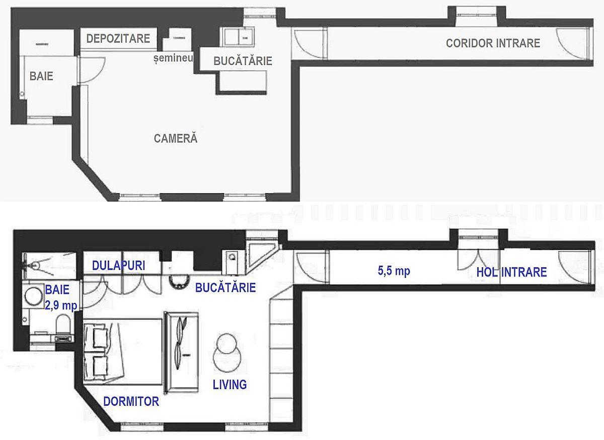 Înainte și după renovare planul locuinței nu s-a schimbat foarte mult, dar mobilarea și compartimentarea parțială dintre living și dormitor a rezolvat problemele pentru tânărul proprietar.