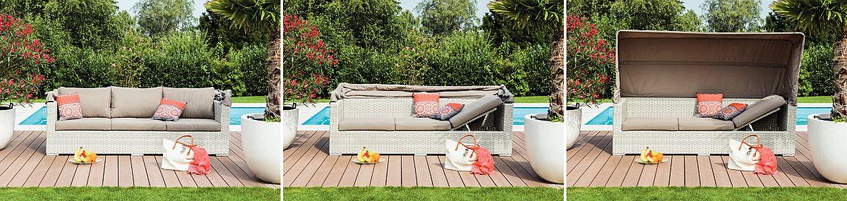 Canapeaua de exterior Alex are și șezutul reglabil pentru a putea fi folosită comod pentru plajă sau lectură. Vezi preț AICI.