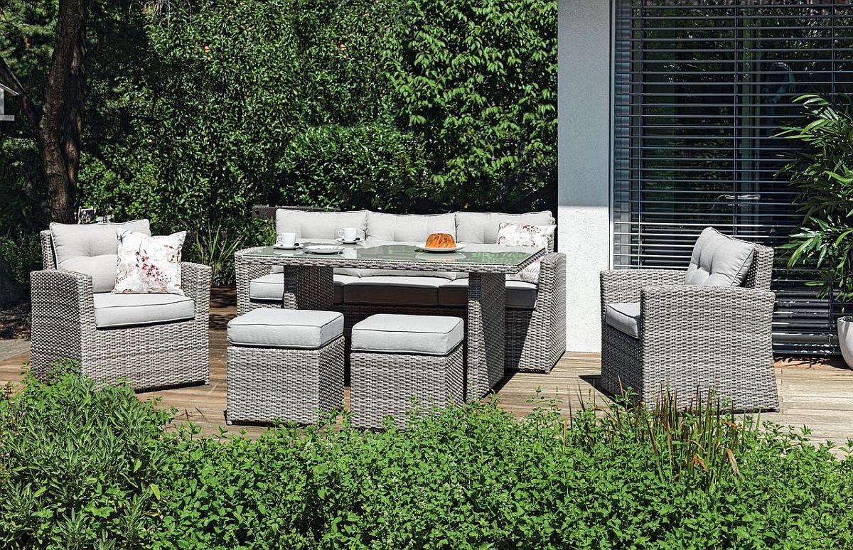 Set mobilă grădină Barcley. Include șase piese. Vezi dimensiuni, materiale și preț AICI.
