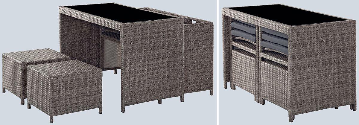 Setul de mobilă Bella este ușor de stivuit, piesele sunt gândite să încapă toate sub masa cu blat de sticlă. Vezi preț AICI.