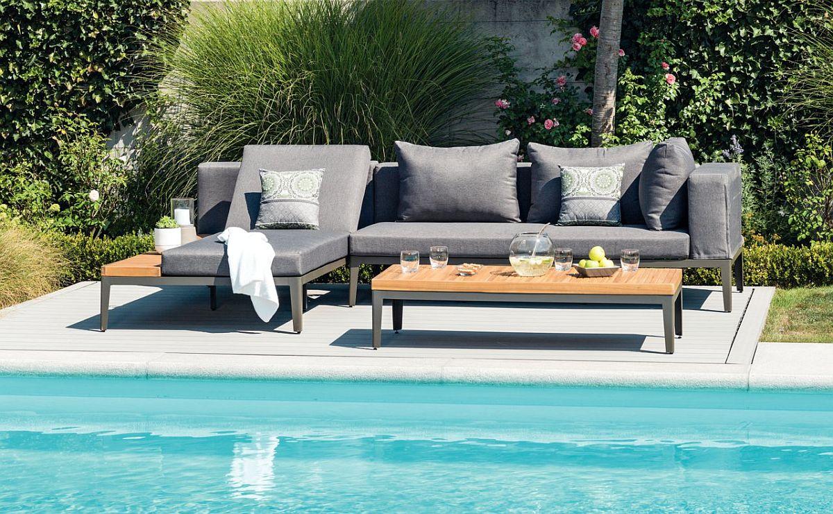 Set lounge mobilă grădină Ecuador. Include colțar și masă. Vezi materiale, dimensiuni, preț AICI.