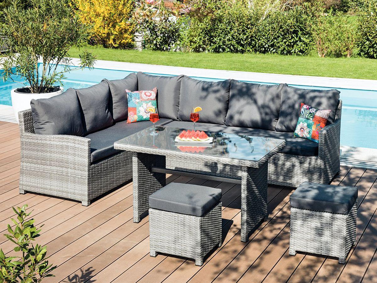 Set lounge Merle. Include canapea colțar, masă și taburete. Vezi detalii materiale, dimensiuni, preț AICI.
