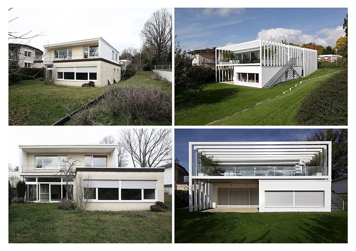 Înainte și după renovare. Fațada dinspre grădină a casei a suferit o transformare majoră și prin aceasta familia care locuiește aici beneficiază acum de terase protejate, una la parter și una generoasă la etaj, de unde se poate vedea spațiul verde și peisajul din jur. Contrastul dintre noile fațade albe cu gazonul verde, face ca recenta arhitectură a casei să apară și mai spectaculoasă.