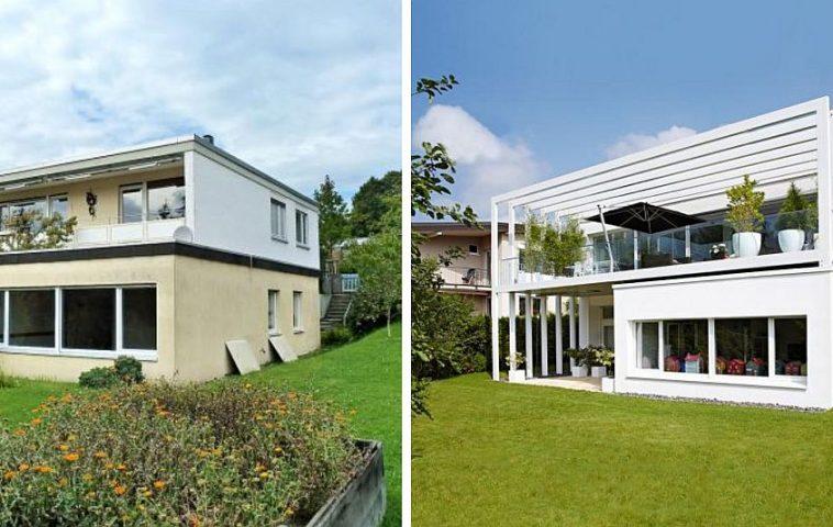 Înainte și după renovare. În imaginea finală a casei contează mult și amenajarea peisagistică a grădinii, care și ea la rândul ei a fost regândită.