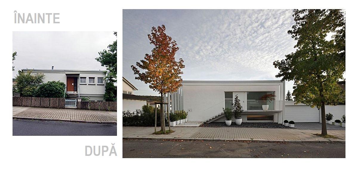 Înainte și după renovare fațada de la stradă. Accesul în casă din stradă a fost regândit complet după renovare. Practic totul a devenit mult mai aerisit în lispa gardului, iar accesul la garaj se face mult mai ușor acum, acesta având aleea liberă. Ferestrele mai generoase, libere de elemente de tâmplărie care să le fragmenteze și albul curat al finisajelor creionează o arhitectură minimalistă coerentă, unde atât garajul, cât și gardul din prelungirea lui compun un tot unitar.