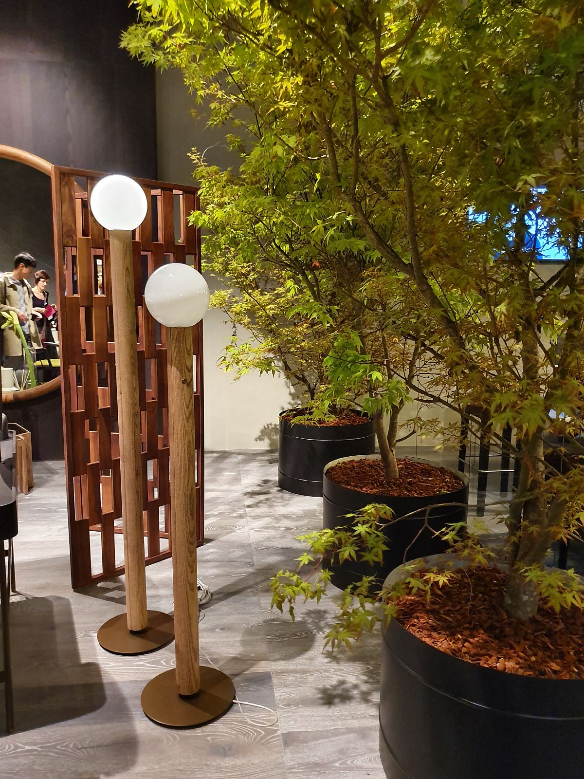 Piesele din lemn frumos lucrate de la Ceccotti Collezioni puse în valoare și de alăturarea cu plante înalte și bogate.