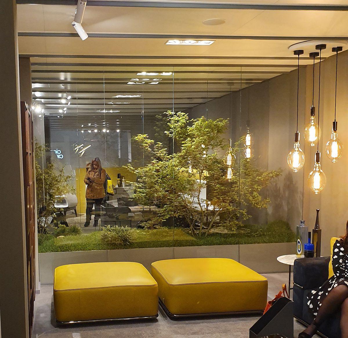 Foarte interesante efectele cu separări de sticlă între care erau plante. Corpurile de iluminat se reflectau în suprafețele sticlei, iar plantele creau un fundal proaspăt pentru piesele de mobilier, dar te și invitau să explorezi mai departe.