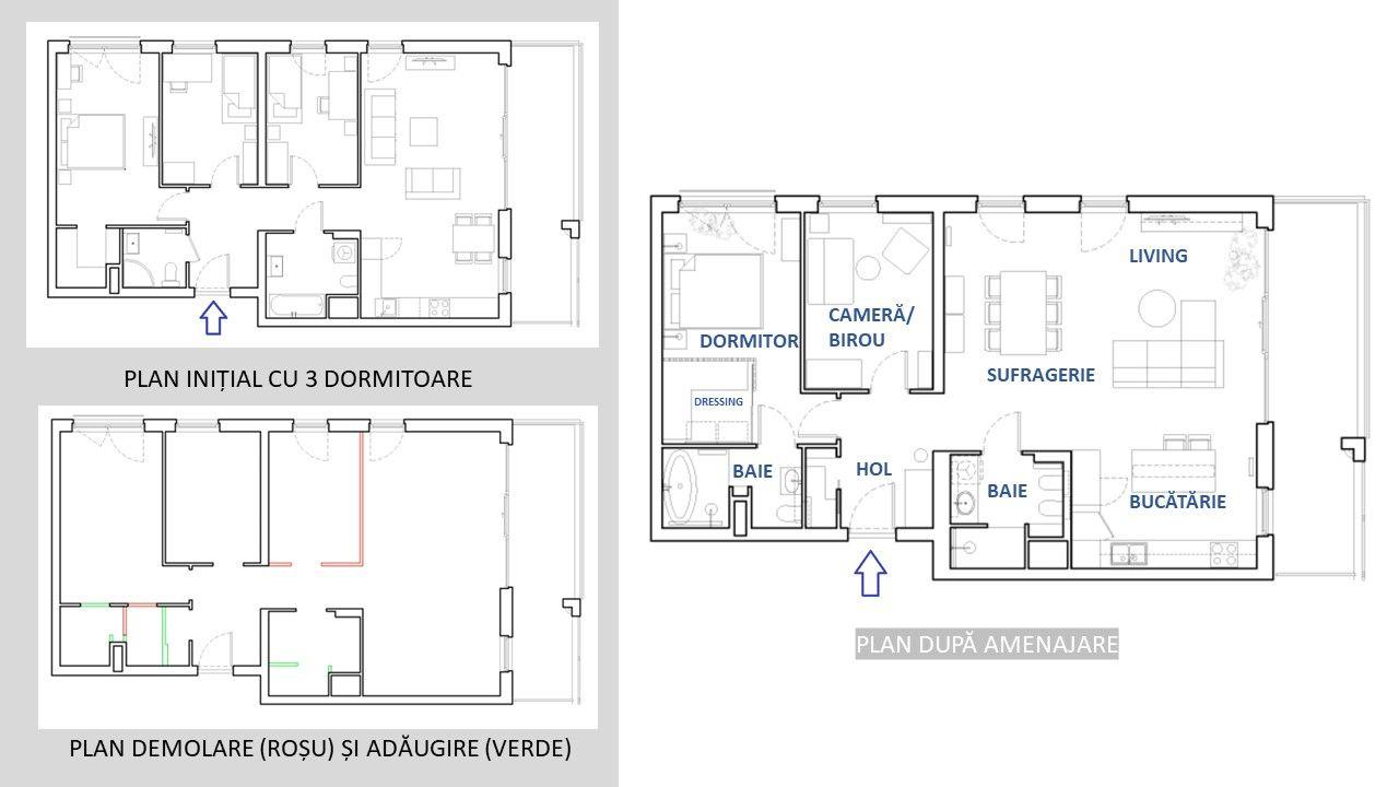 Pentru ca bucătăria să fie mai spațioasă, arhitecții au propus ca spațiul zonei de zi să fie mărit cu unul dintre dormitoarele mici.