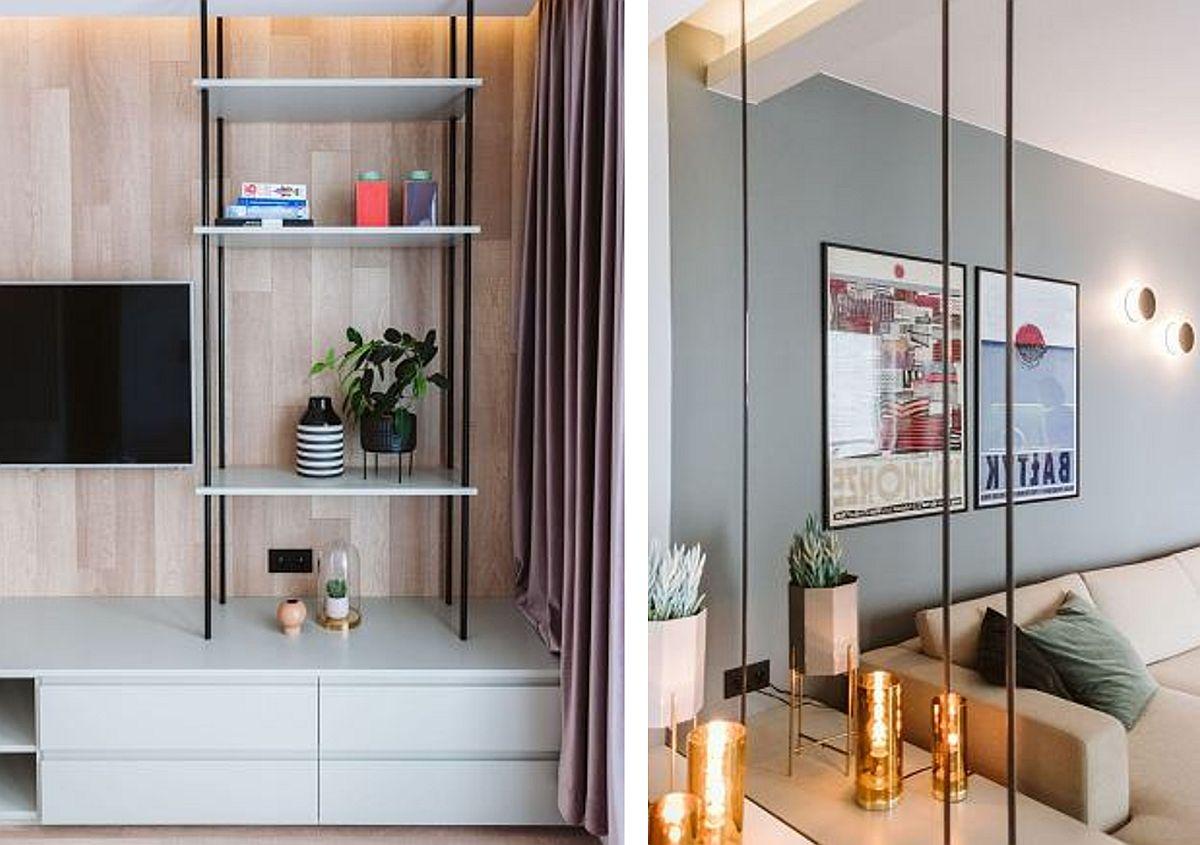 Când spațiul este mic, mobila e bine să fie configurată cu sertare care se pot accesa mult mai ușor. De asemenea, în loc de corpuri de bibliotecă masive, pot fi realizate rafturi cu structură metalică, care este mai subțire, mai fină. Placările cu sticlă ajută mult în spațiile mici, grație efectului de oglindă pe care-l pot oferi.