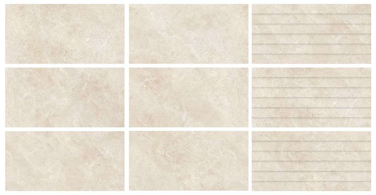Gama Cream din colecția 2019 de la CESAROM® are aspect de piatră, iar modelul de pe plăci nu se repetă, tocmai pentru ca după ce sunt montate, suprafețele finale să aibă un aspect natural.
