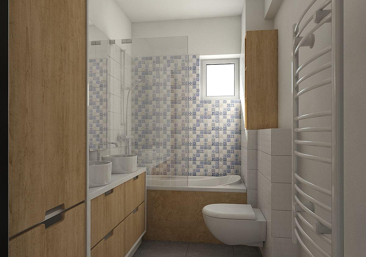 Vizualizare fotorealistă 3D cu plăci Maiolica CESAROM®prevăzute de către colegul meu arh. Paul Domșa într-o baie amenajată actual.