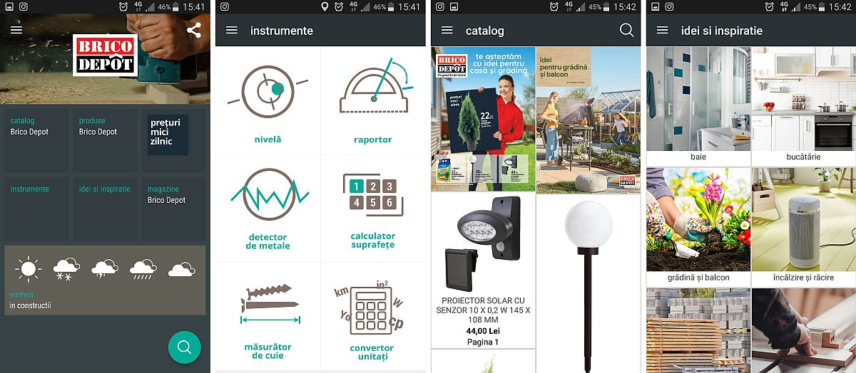 Merită să ai pe telefon și aplicația BricoDepot, mai ales că pe lângă verificarea stocului în timp real și al disponibilității produselor în cel mai apropiat magazin față de tine, mai ai și o secțiune cu Instrumente. În această secțiune poți activa instrumentele online, astfel încât să poți folosi telefonul tău smart (smartphone-ul) pe post de nivelă (boloboc), să faci calcule de suprafețe, dar și să detectezi metale. Eu l-am încercat la birou și a detectat locul unde sunt profilele de gips-carton.