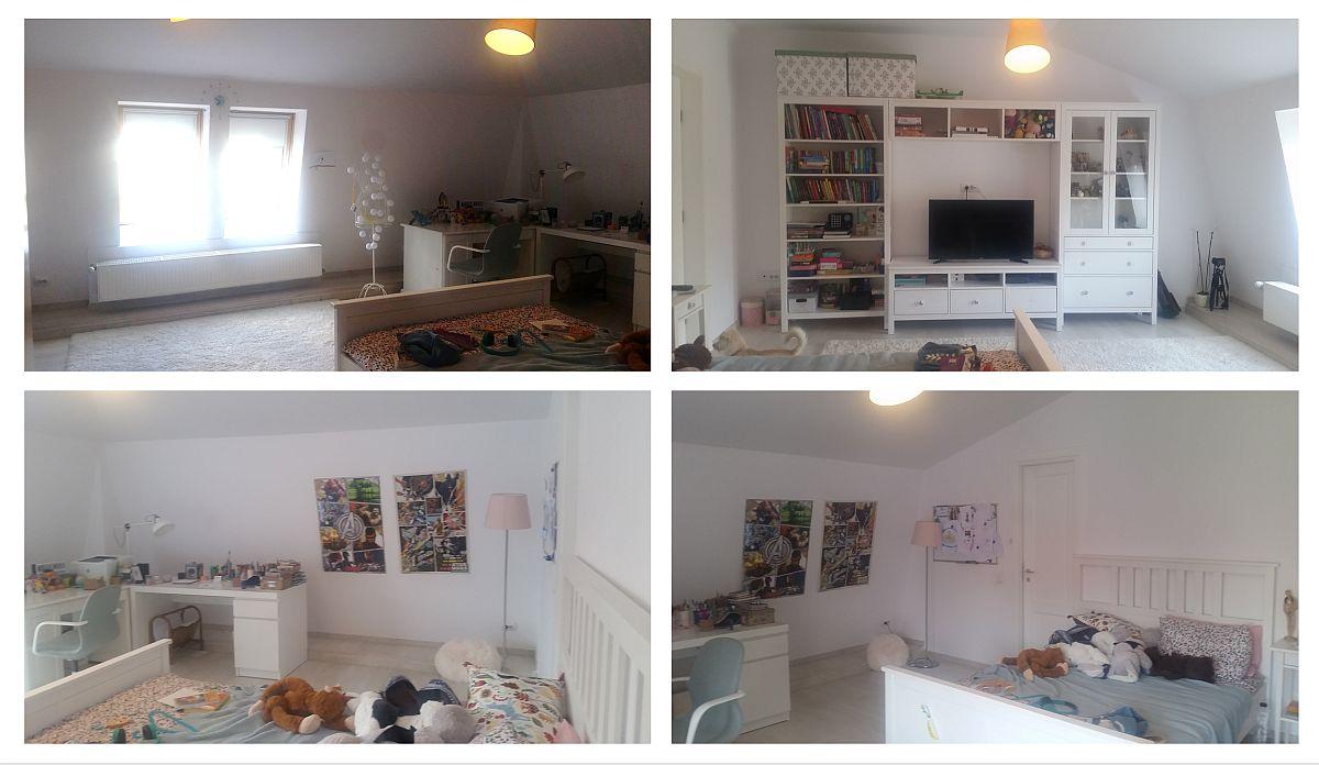 Camera Anei așa cum era înainte de reamenajare cu pereți albi și mobilă albă.