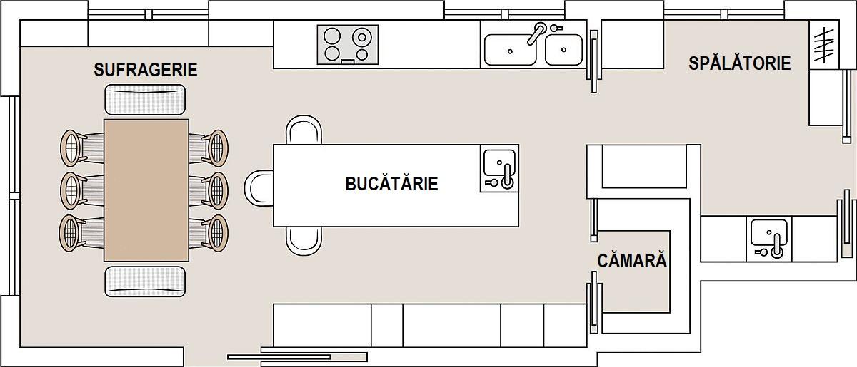 Spațiul dedicat bucătăriei este de circa 30 de metri pătrați, în care sunt incluși 2,5 metri pătrați pentru cămară. În spațiul bucătăriei există o masă insulă lungă de 3 metri, iar lângă ea o masă la care pot sta foarte bine 12 persoane. Spațiul bucătăriei comunică cu cel dedicat spălătoriei, organizat pentru locul mașinii de spălat, uscat și călcat rufe. Astfel, toate activitățile casnice sunt grupate în aceeași parte a casei.