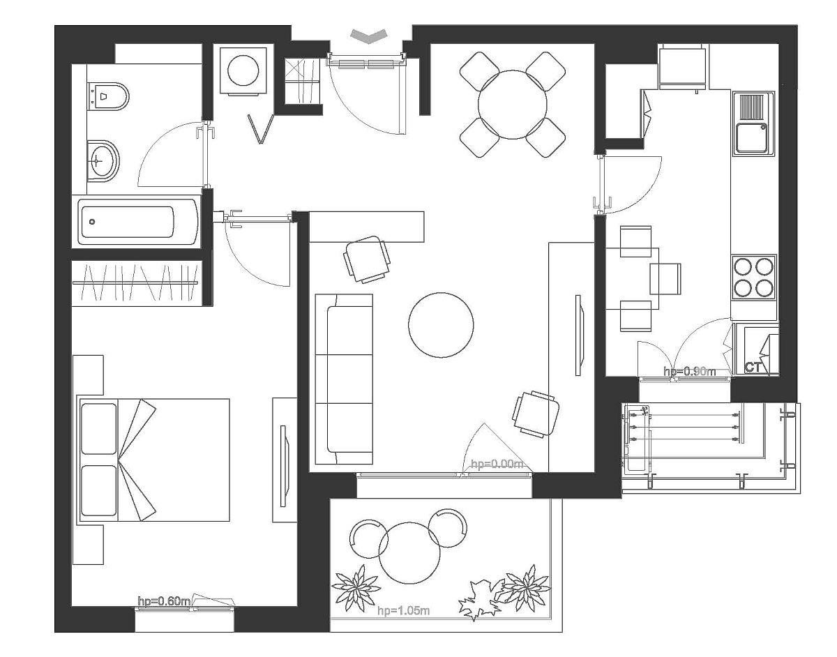 Apartamentul de două camere (55 mp) din complexul AFI City a fost gândit de către Paul Domșa pentru un cuplu care lucrează acasă. Paul a gândit spațiul zonei de zi cu mai multe întrebuințări: living, sufragerie, dar și spațiu de birou acasă.