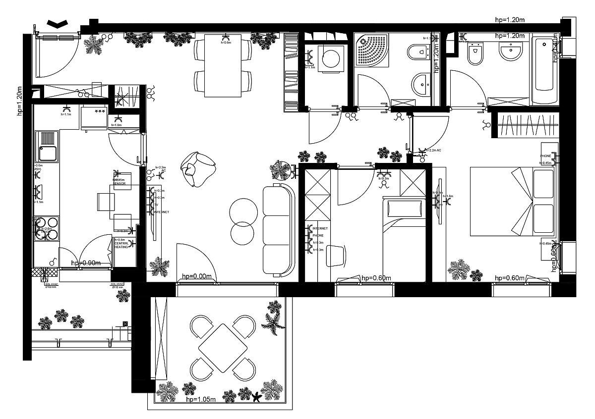 Apartamentul de 3 camere de tip A din AFI City are două camere de baie și separat față de acestea loc pentru mașina de spălat rufe și uscător. Zona de zi este clar separată față de zona de noapte, iar livingul este la vedere din zona de hol. Ca atare, Laura Pietrușel a avut în vedere ca fiecare zonă să fie cât mai frumos conturată.