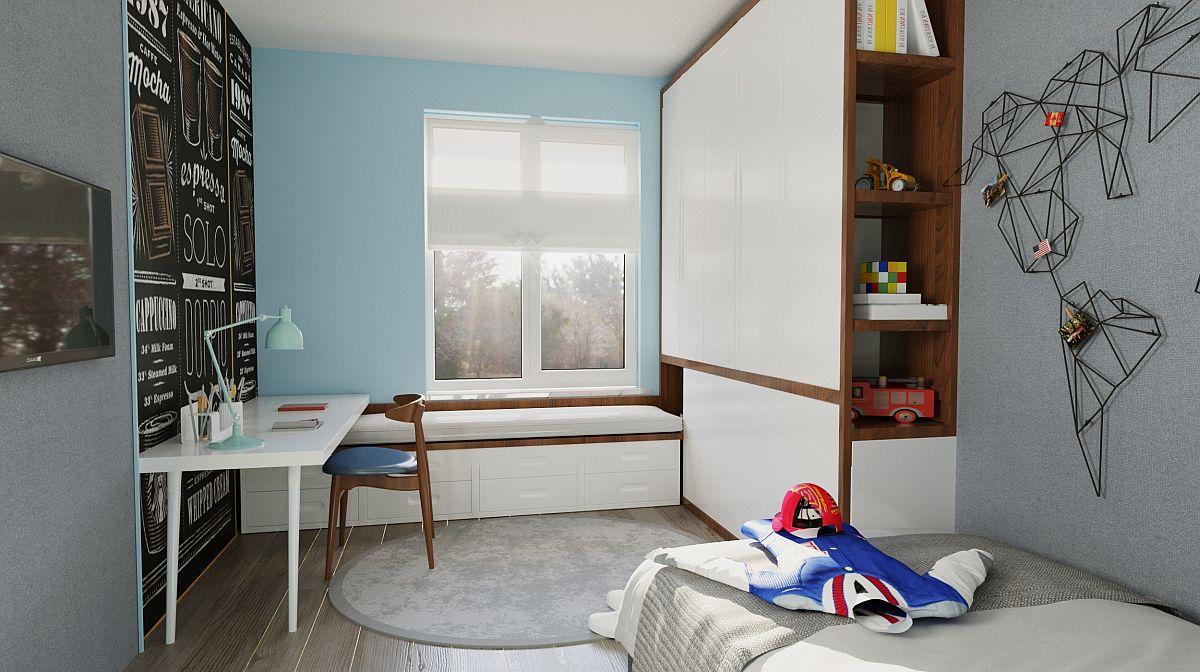 Camera copilului (sau copiilor) este proiectată multifuncțional: loc de birou, loc de depozitare jucării și lectură (bancheta d ela ferastră), loc de depozitare (dulap cu bibliotecă) și loc de odihnă (pat).