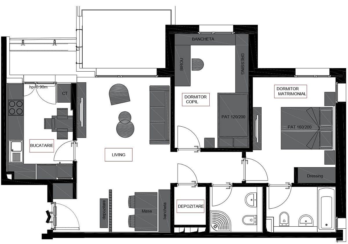 Pentru apartamentul de 3 camere de tip B din AFI City, Andreea Beșliu a avut în vedere cât mai multe spații de depozitare, absolut necesare atunci când familia are un copil sau doi.
