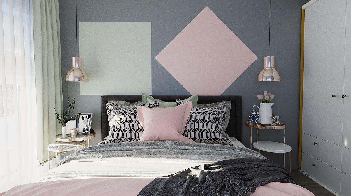 Într-un dormitor doar câteva accente colorate, plus lenjeria de pat pot schimba radical atmosfera, iar Andreea ne-a exemplificat clar prin acest proiect cum se întâmplă asta.