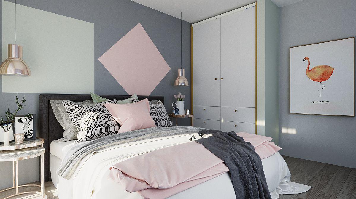 Dulapul din dormitorul matrimonial este tratat simplu ca aspect, iar înălțimea zonei este ocupată în întregime și pe verticală. Un tablou cu fundal tot alb așezat lângă duap completează reușit zona pentru ca nuanțele în contrast, dar și intervențiile de la nivelul pereților să fie cât mai unitare, coerente.