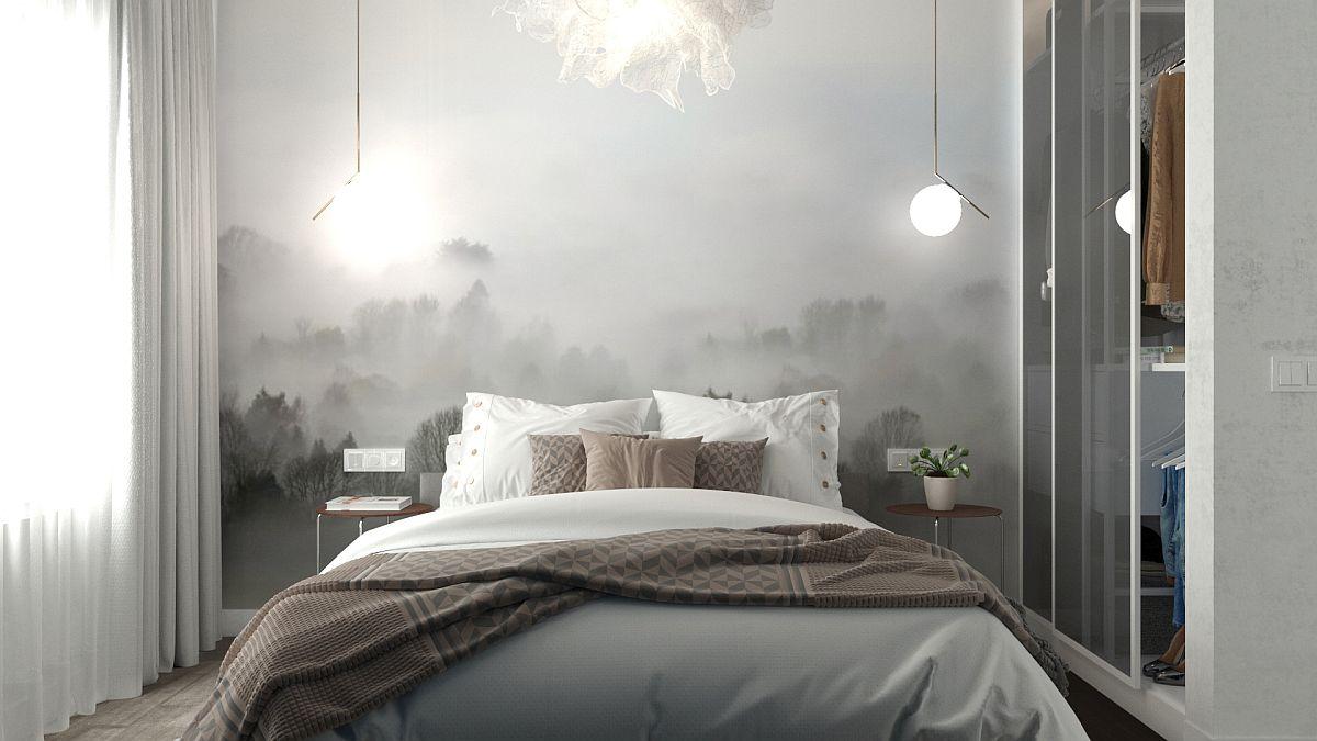 Din trendul Nature Glam, Georgiana a prevăzut un tapet mai deosebit care sugerează prezența naturii, dar care conferă și o imagine frumoasă dinspre living, dormitorul fiind parțial vizibil.