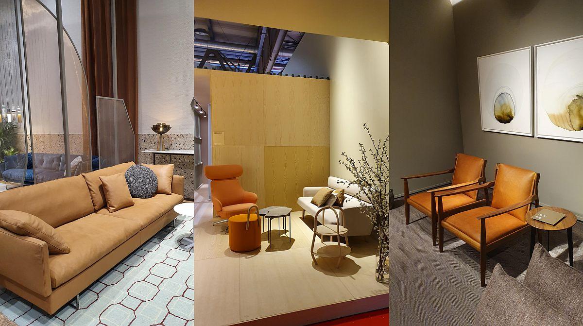 Portocaliul a fost prezent chiar și în propunerilor producătorilor de mobilă cu tapițerii din piele, acest material fiind tratat în diverse tente de portocaliu.