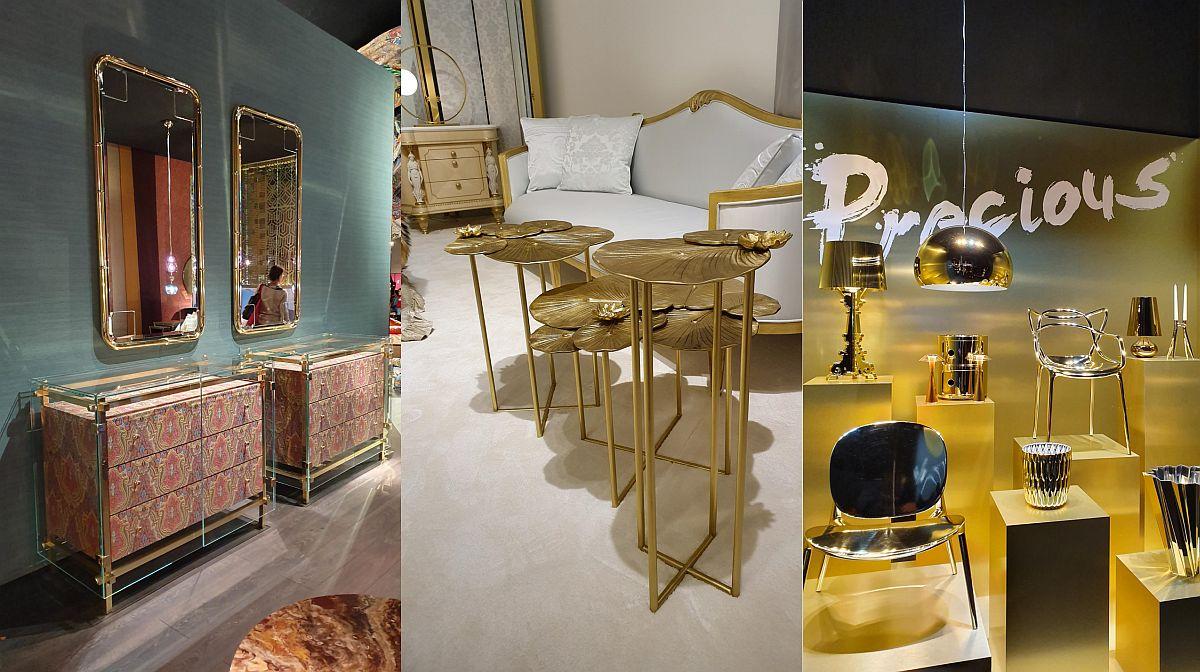 TEXTURI: AURIU. Finisajele aurii au fost foarte prezente ăn propunerile expozanților de la Milano, de la accente care puneau în valoare linia mobilierului sau piese metalice integral finisate în auriu la mobilier din bioplastic, dar finisat să dea impresia de metal aurit.