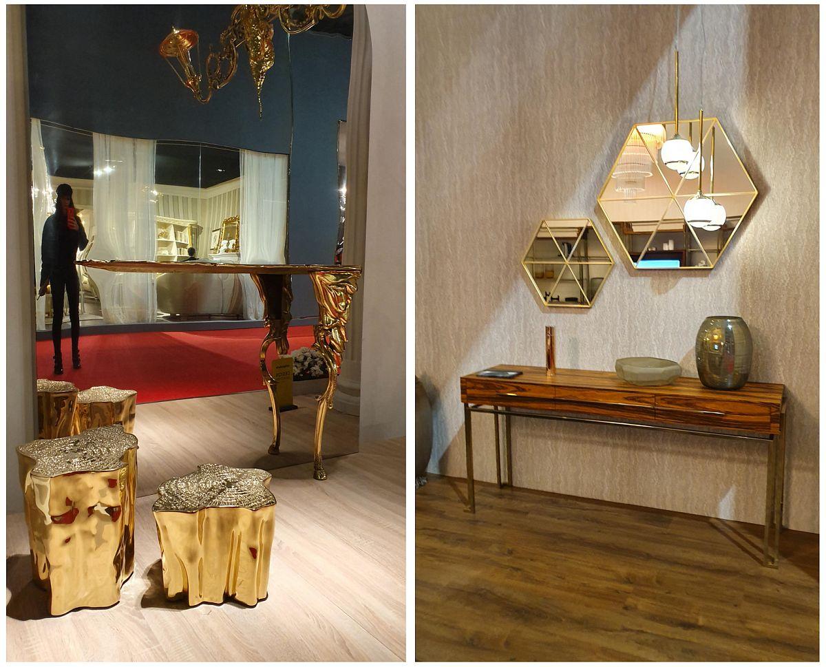 Accentele aurii au fost propuse mai ales la nivel de mic mobilier, de la taburete și măsuțe cu forme de buturugi, dar aurite la rame de oglinzi și picioare aurii.
