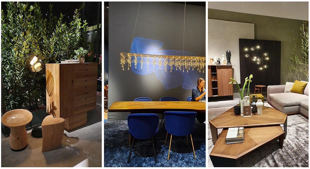 De la aspectul rustic la cel contemporan, lemnul practic nu a lipsit din colecțiile prezentate la Milano. Combinațiile între blaturi rustice, masive și suporturi de mese actuale, metalice sau combinate cu cele cu finisaj auriu au fost des întâlnite, la fel ca și piesele mici de tipul măsuțelor cu muchii atent lucrate și tăiate în unghiuri atipice, dar cu venatura lemnului pusă în valoare.