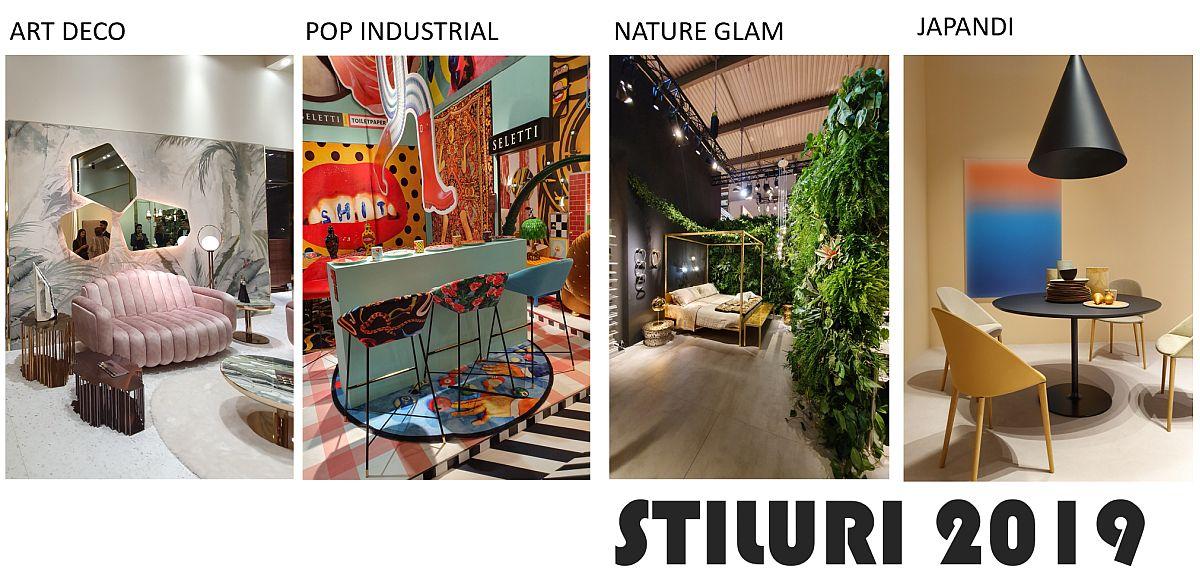 Deși nu se mai poate vorbi în ziua de azi despre stiluri clar conturate, ci mai degrabă despre influențe, ceea ce am remarcat la Salone del Mobile 2019 au fost interpretări ale stilului Art Deco, chiar și Bauhaus (mai ales că se aniversează centenarul acestui curent în acest an). De asemenea, stilul POP ART a fost prezent și combinat mai ales cu elemente industriale, iar ambientele cu piese de mobilă aurite au fost condimentate din plin cu plante naturale, un contrast ce vorbește despre prelucrat și neprelucrat, dar și o sugestie asupra faptului că adevărata bogăție (sugerată prin mineralul nobil aurul) este de fapt natura. Un stil interesant, din ce în ce mai prezent este Japandi, o combinație între Japonez și Scandinav, care descrie o împletire între formele asiatice translatate în interpretare scandinavă. Practic, o nouă evoluție a stilul scandinav, atât de popular și mediatizat peste tot în lume.