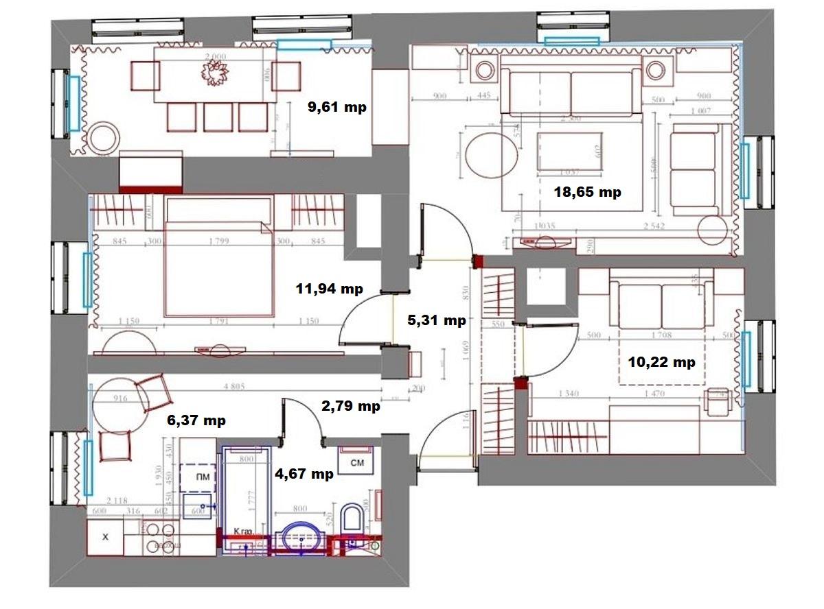 adelaparvu.com despre amenajare clasica apartament 69 mp, designer Julia Levina, Foto Sergey Kuznetsov (27)