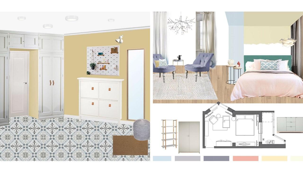 adelaparvu.com despre mood board apartament 67 mp pentru familie cu copil, design Anna Morozova (2)