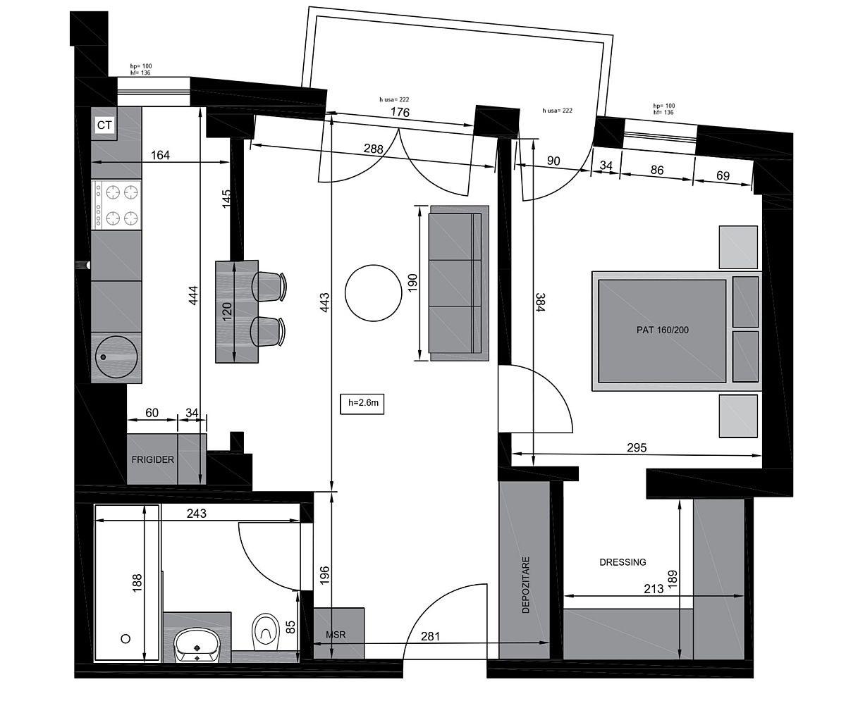 adelaparvu.com despre proiect amenajare apartament 48 mp pentru inchiriere, design arh. Andreea Besliu (15)