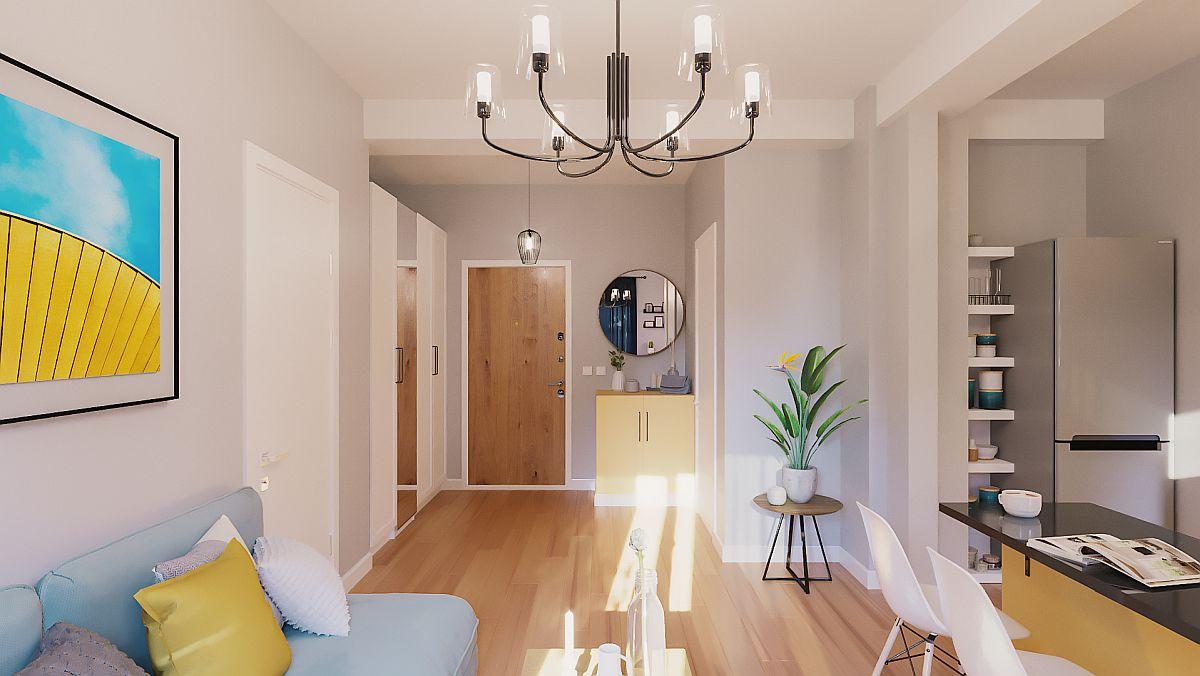 adelaparvu.com despre proiect amenajare apartament 48 mp pentru inchiriere, design arh. Andreea Besliu (5)