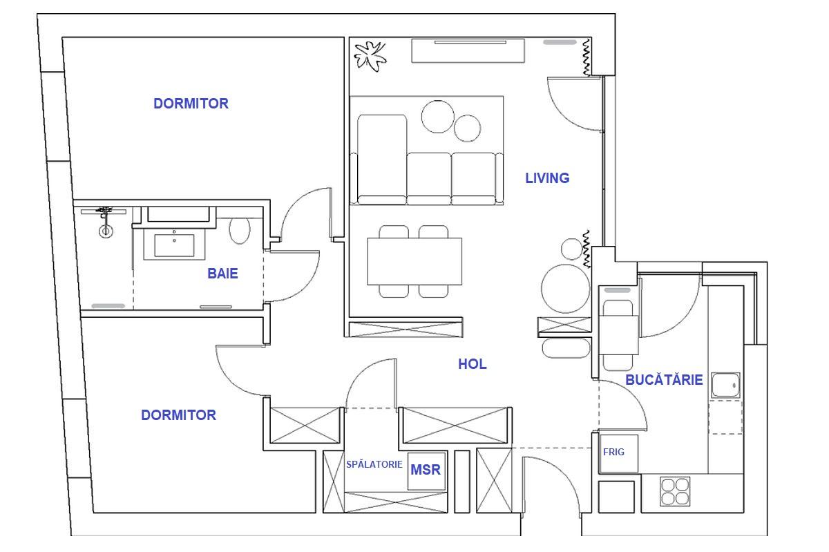 adelaparvu.com despre amenajare living, bucatarie, baie in albastru, design Design My Deer, Foto Ayuko Studio (1)