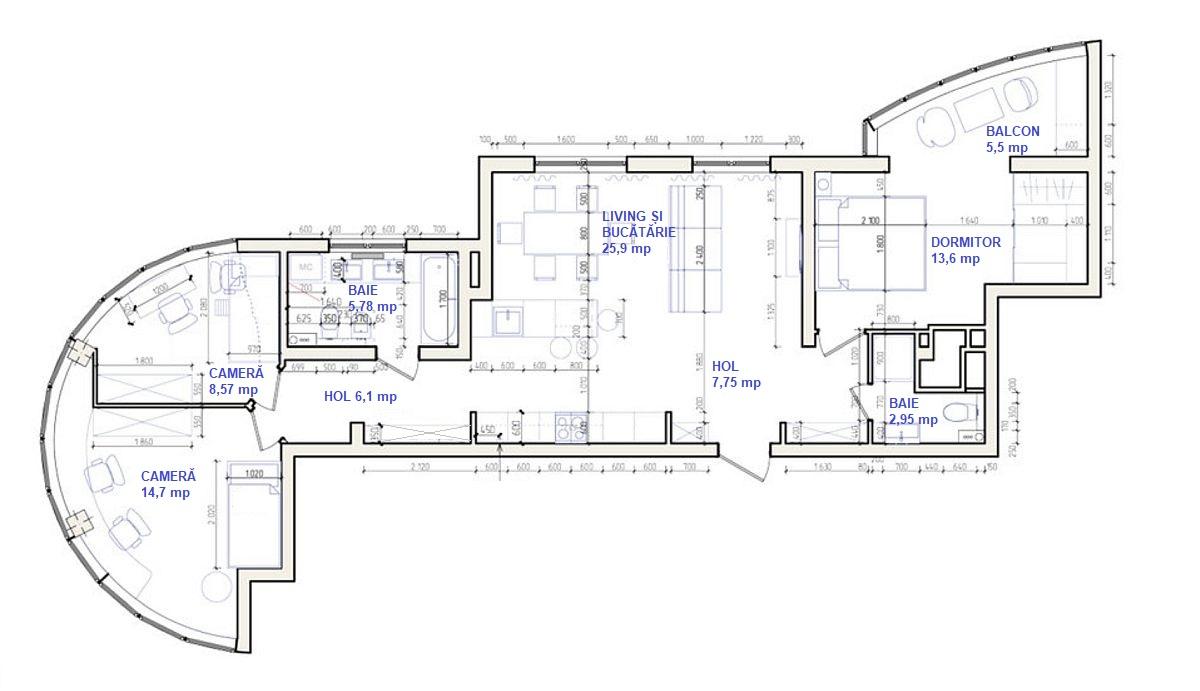 adelaparvu.com despre apartament 91 mp pentru o familie cu 4 copii, designer Aigul Sultanova, plan