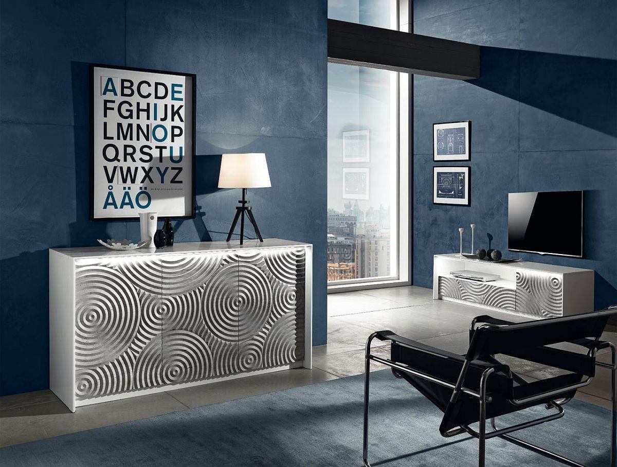 Comode Torino, vezi materiale, dimensiuni și preț AICI. Vezi mai jos imagine frontală cu frezările 3D de la comoda Torino.
