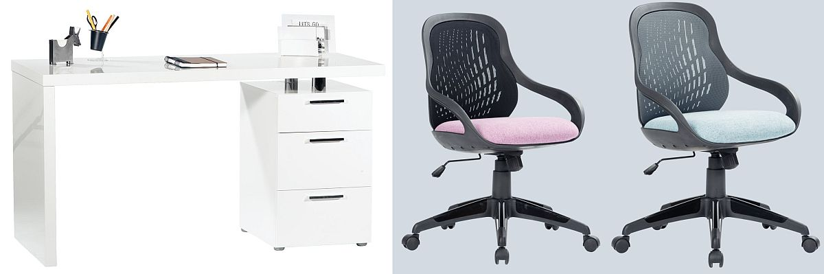 Birou Blanco. Vezi materiale, dimensiuni și preț AICI. Scaune de birou reglabile Casper în două variante de culoare pentru șezut. Vezi detalii și preț AICI.