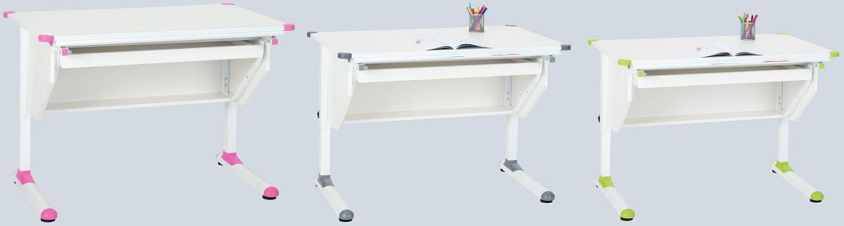 Mese de birou Happy. Blat ajustabil, reglabil pe înălțime, elemente colorate. Vezi dimensiuni și preț AICI.