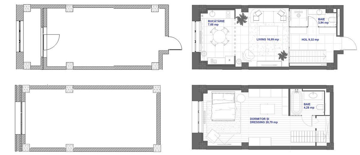 adelaparvu.com despre amenajare duplex loft 70 mp, design Irina Bogatikova, plan
