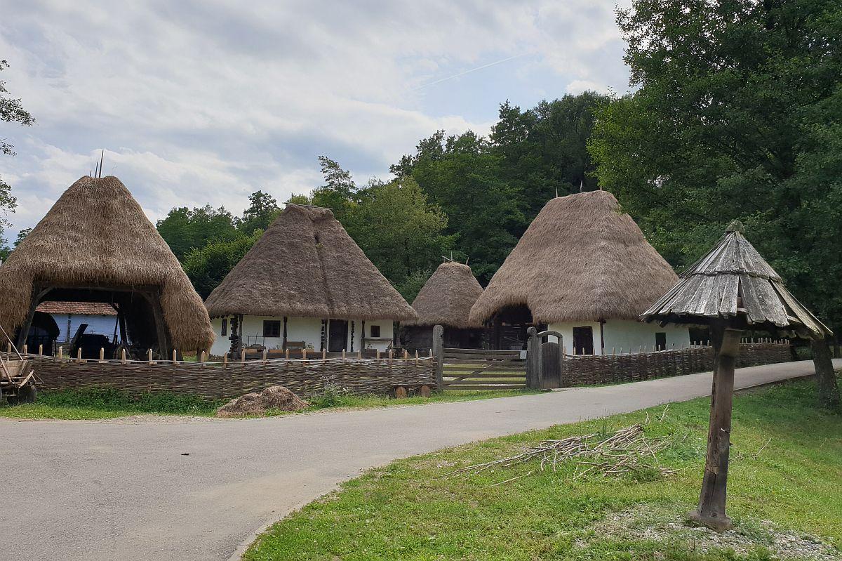Gospodărie cu anexe și acoperișuri din fân. Foto la Muzeul Astra Sibiu.