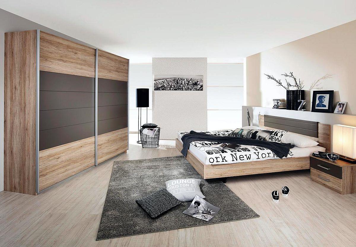 """Dormitor """"Barcelona"""". Preț nou: 1.679,-Ron. Preț vechi: 2.399,- Ron. Reducere: 30%. Fabricat în Germania. Include: dulap, cadru pat și 2 noptiere. Salteaua și somiera sunt disponibile contra cost."""