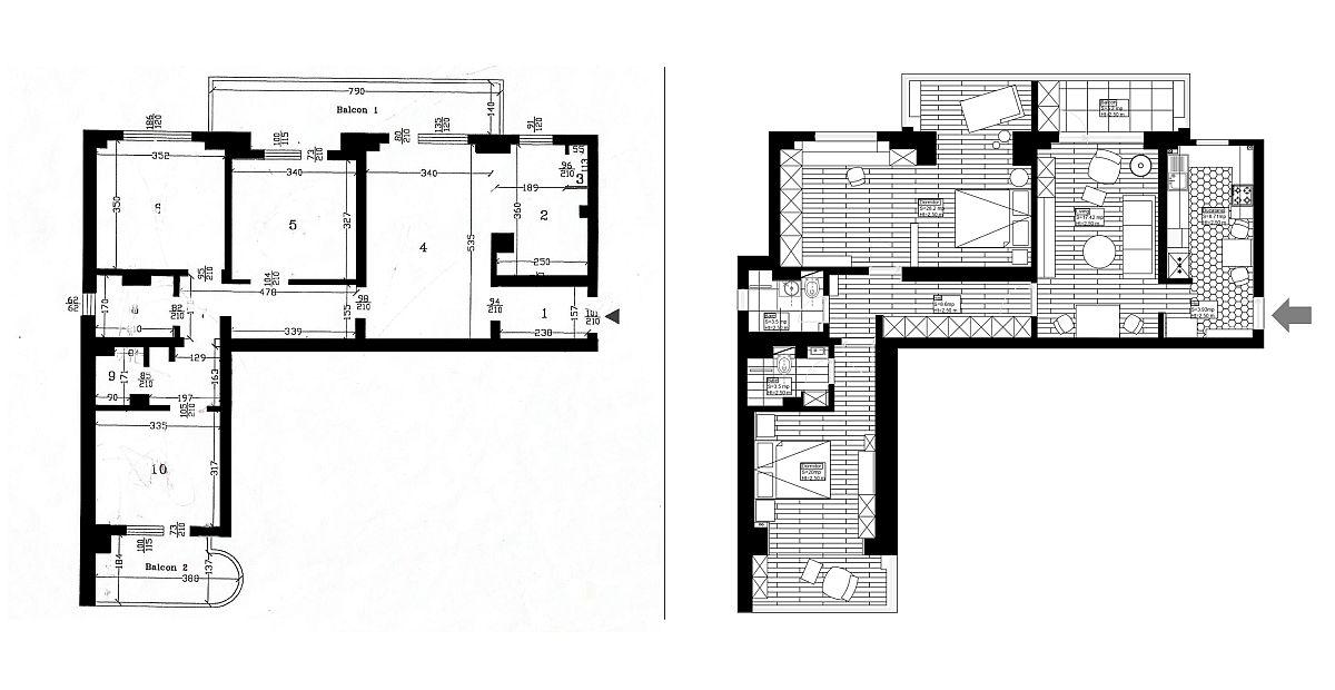 adelaparvu.com despre amenajare apartament 94 mp, Bucuresti, design Acrea Design, planuri