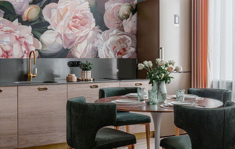 adelaparvu.com despre bucatarie cu tapet cu flori, designer Iulia Sheypunas, foto Vladimir Barabash (13)