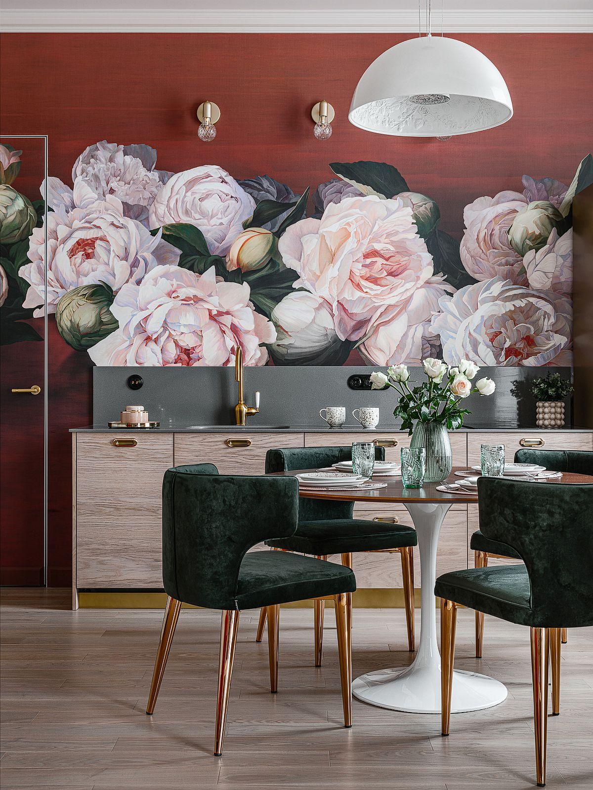 adelaparvu.com despre bucatarie cu tapet cu flori, designer Iulia Sheypunas, foto Vladimir Barabash (4)