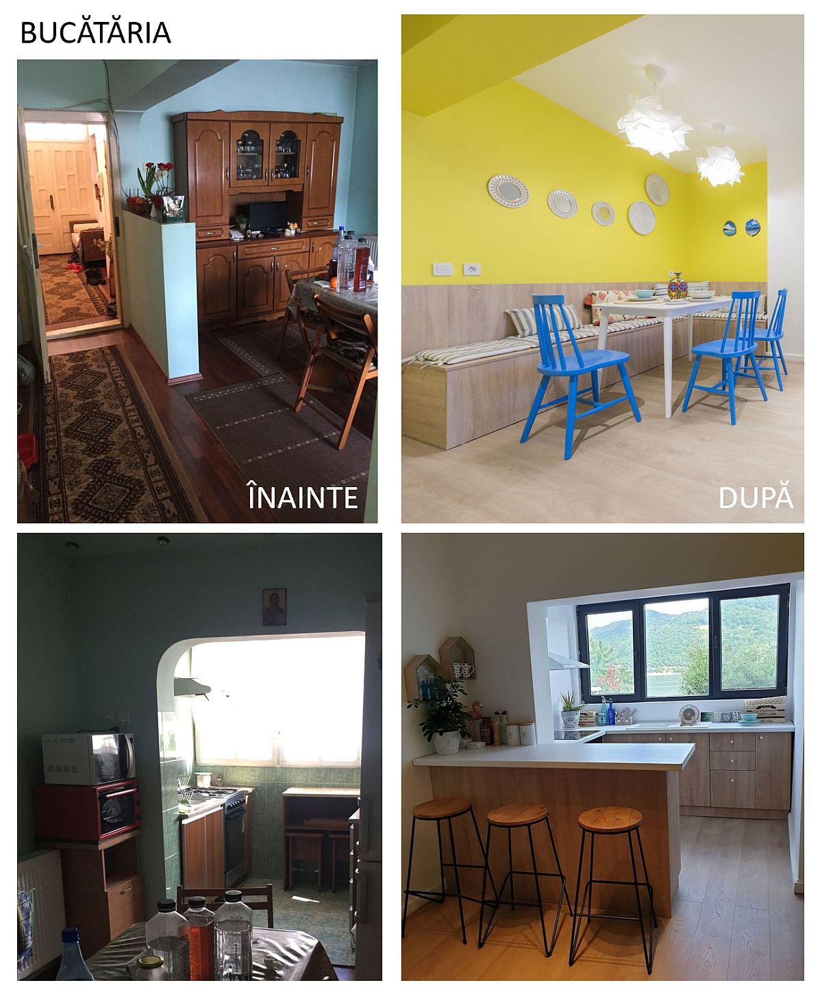 Destinația de bucătărie a fost păstrată, dar totul regândit pentru mai multe locuri de ședere, o bucătărie mai aerisită cu masă de tip bar și mai luminoasă prin debarasare zidurilor parțiale și ale arcadelor, plus o nuanță intensă de galben solar.