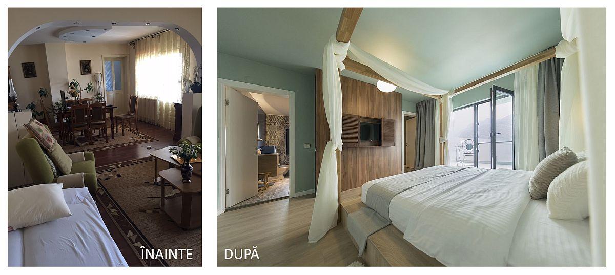 Fostul living din casa locuită de părinții vârstnici a devenit una dintre cele mai ofertante camere ale pensiunii, cu baie proprie și cu deschidere către o cameră mică, pentru încă o persoană (copil).
