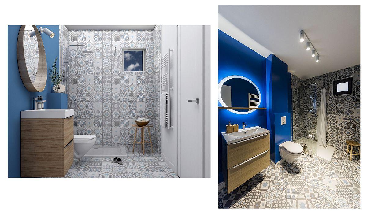 Comparație între vizualizarea 3D pentru baie făcută de Georgiana și stadiul final, așa cum există acum. În propunerea 3D noi deja aleseserăm materialele de finiaj.
