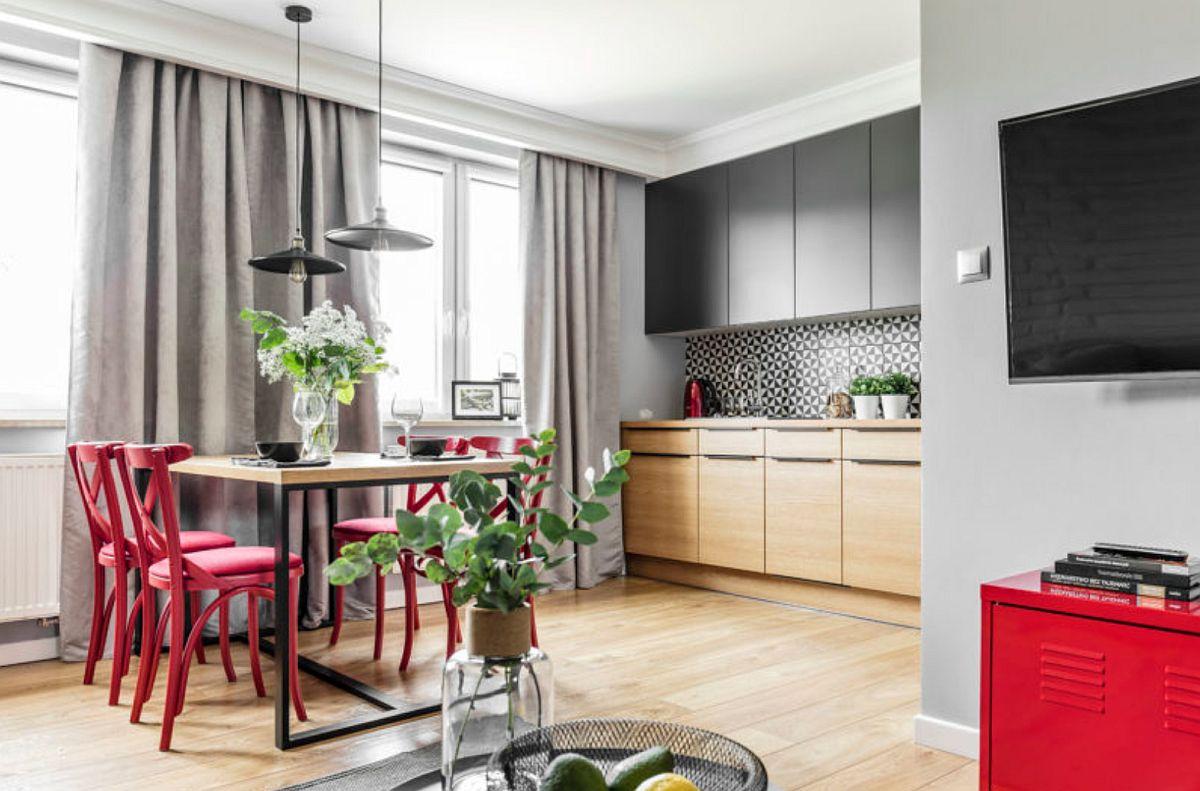 adelaparvu.com despre apartament 56 mp cu accente de rosu, design SAS Wnetrza i Kuchnie, Foto Strazynski Studio (11)